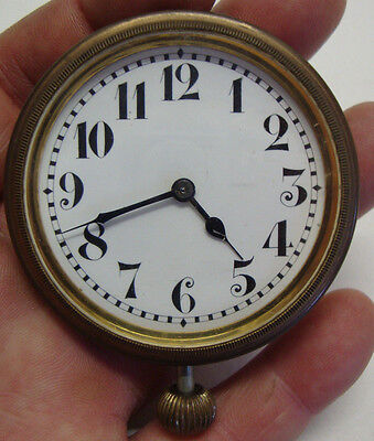 Antique pocket watch size traveling clock cased movement