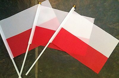 3 x Poland Polish Flags HAND WAVING FLAG Product Display School sports events