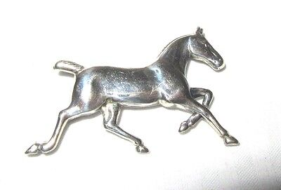 Sterling Silver Galloping Horse Pin - 1.75""