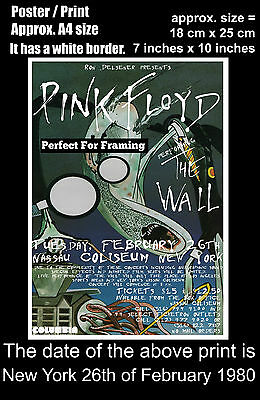 Pink Floyd live concert at New York 26th of February 1980 A4 size poster print