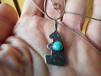 Native American Sterling silver turquoise bear pendant & chain necklace signed