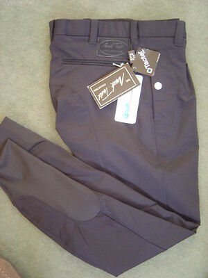 "Mark Todd Mens black Coolmax breeches, pleated front, 34"" waist, new with tags"