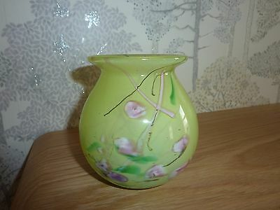 Gorgeous Selkirk Glass Vase Green Millifiori Pattern Signed On Base Dated 1999
