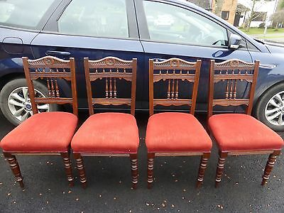 Antique Victorian Sprung Upholstered Spindle Backed Dining Chairs Set of 4