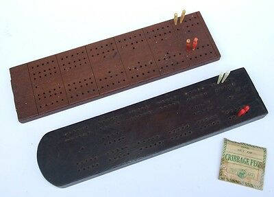 2 x Old Mahogany Wood Cribbage Crib Boards with Pegs