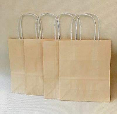 10 X Small Cream Coloured Paper Gift Party Kraft Bags With Handles 22cm X 18cm