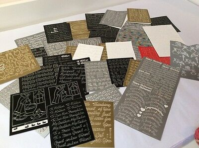 Peel Off Sticker Sheets - Various Colours & Designs - Pictures, Word - Bits Used