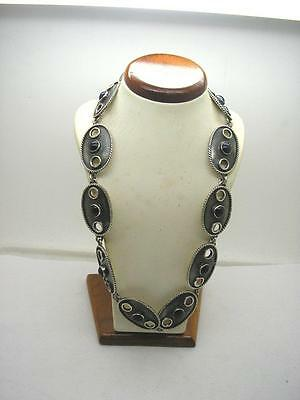 Vintage Sterling Silver Heavy Mexico Panel Collar Necklace With Obsidian