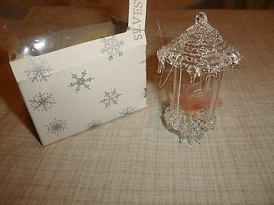 Spun Blown Glass Ornament Bird Cage Ice Cycles Hanging Display