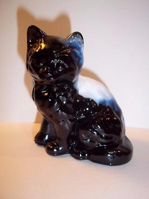 Mosser Glass Black Amethyst & White Slag Swirl Persian Cat Kitten Figurine 3