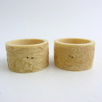 Pair Of Antique Chinese Napkin Rings Carved With Dragons