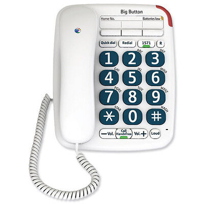 BT Big Button 200 Corded Telephone in White - New DB - LIMITED STOCK!
