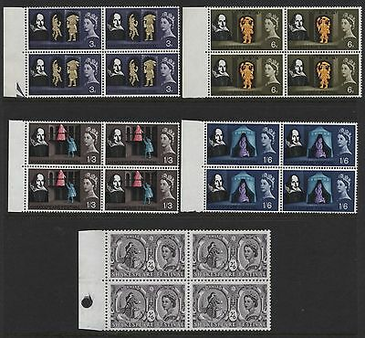 1964 3d-2/6 SHAKESPEARE SET IN MINT BLOCKS OF FOUR (O). SG 646-50