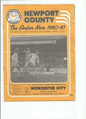 Newport County V. Worcester City 17.11.80 Welsh Cup