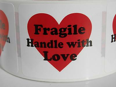 FRAGILE HANDLE WITH LOVE with heart 1.75x2 Warning Stickers Labels 250/rl