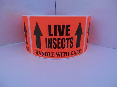 LIVE INSECTS HANDLE WITH CARE 2x3 Sticker Label fluorescent red bkgd 250/rl