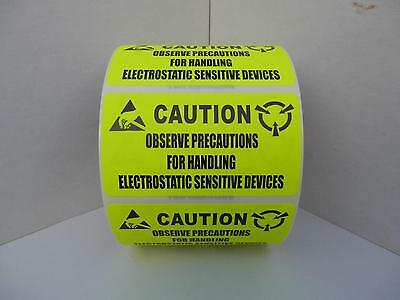 ESD Electrostatic Sensitive Devices 2.75x1.5 neon yellow Warning Labels 250/rl
