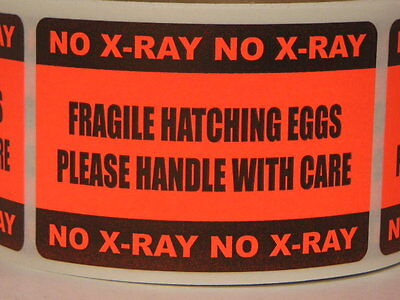 FRAGILE HATCHING EGGS PLEASE HANDLE WITH CARE  NO X-RAY Label fluor red 250/rl
