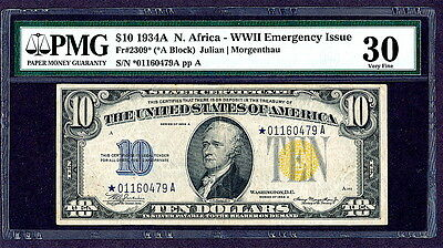 "1934A N. AFRICA $10 ""STAR""  SILVER CERTIFICATE  WWII  Fr#2309*  PMG 30 VERY FINE"