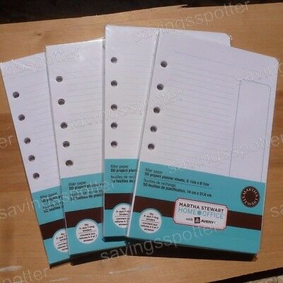 Martha Stewart Planner Filler Paper 5.5 x 8.5 100 Mini Binder 7 Hole 200 Sheets