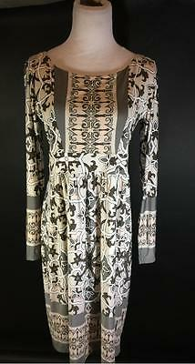 Olian Maternity Gray Paisley Stretch Dress Size L New with Tags