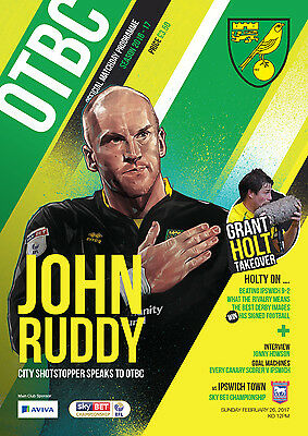 Official Norwich City Fc 2016/17 Programme And Teamsheet Vs Ipswich Town Fc