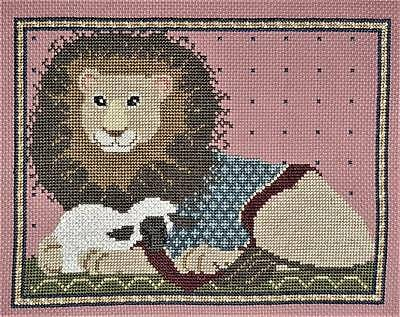 The Lion and Lamb Finished Completed Wall Art Hand Made Embroidery Cross Stitch