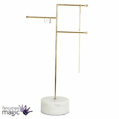 Sass & Belle Marble And Brass Jewellery Stand Holder Necklace Storage Home Decor