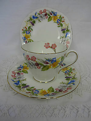 40s 50s vintage shelley spring bouquet china trio tea set cup saucer side plate