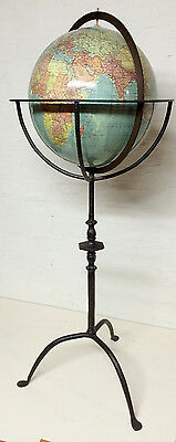 Vintage World Globe on Cast Iron Stand