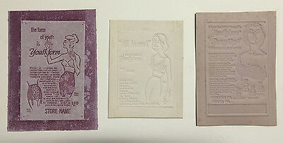 3 Vintage Original Youthform Youth Form Bra Girdle Advertising Poster Press