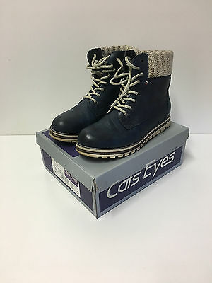 Womens Cats Eyes Navy Knitted Collar Lace Up Boots UK8