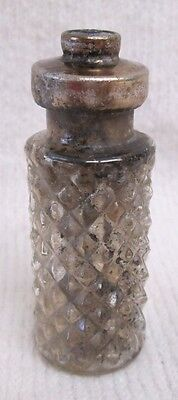 Vintage Glass Perfume Bottle With Siler Tone Metal Top