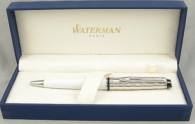 Waterman Expert II Deluxe White w/Chrome Cap Ballpoint Pen - New In Box