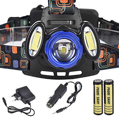 15000Lm 3x XML T6 Rechargeable Headlamp HeadLight Torch USB Lamp+18650+Charger