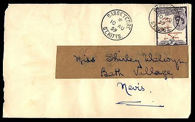ST KITTS 1959 BASSETERRE AUG 10 TO BATH VILLAGE 1 Stamp COVER