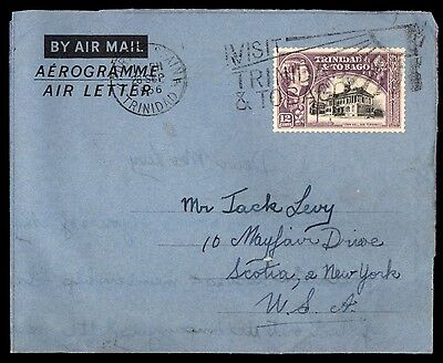 TRINIDAD AND TOBAGO 1956 PORT OF SPAIN SEP 28TH AIR LETTER TO NY USA 1 Stamp AIR