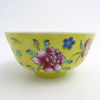 Chinese Yellow Ground Famille Rose Porcelain Bowl, Republic Period