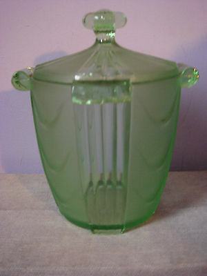 ART DECO GREEN GLASS Frosted Clear Panels LIDDED BISCUIT BARREL STORAGE JAR 30s