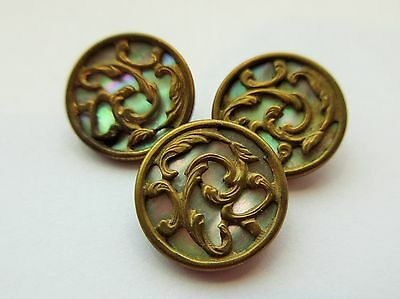 Gorgeous Lot of 3 Antique Victorian Metal w/ Encased MOP Shell BUTTON Ornate