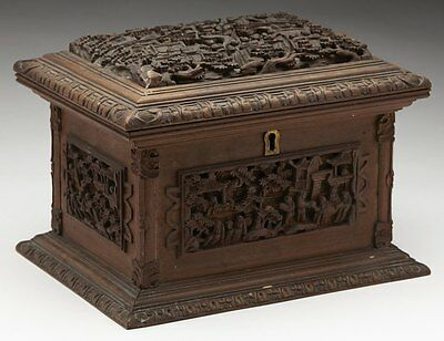 Antique Chinese Canton Carved Wooden Jewellery Box 19Th C.