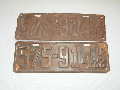 Illinois 1922 - 575-914 - Matching Pair (2) - License Plate - Paint Removed