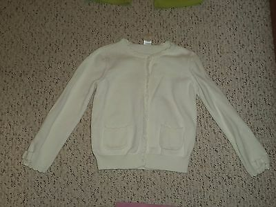 Solid White Gymboree Cardigan Sweater w/ Scalloped Trim, Showers of Flowers, 7 8