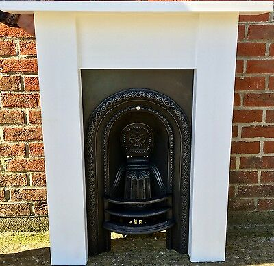 Original Antique Victorian Cast Iron Fireplace & Solid Wooden Painted Surround