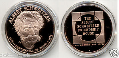Doctor Albert Schweitzer Friendship House Commemorative Proof Bronze Coin Medal