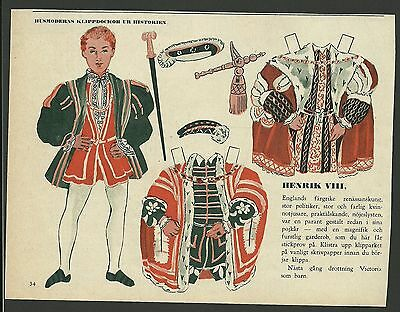 King Henry the VIII 1953 Vintage Swedish Paper Doll  English Monarch