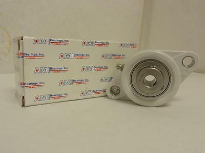 "168126 New In Box, AMI MUCNFL201-8W Thermoplastic Flange Bearing 1/2"" ID, 2-Bolt"