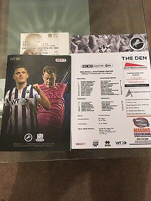 millwall v southend - sky bet league1 - match ticket & team sheet 2017,,,