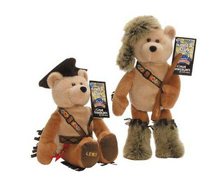 "Pair Plush Collectible Stuffed Bears Limited Treasures 9 1/2"" - Lewis & Clark"