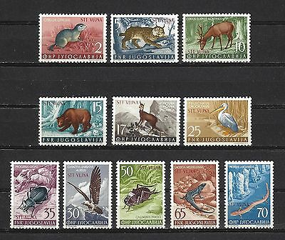 Yugoslavia Trieste Zone B Sc#93-103,  Animals, Birds, Insect Types of 1954   MNH